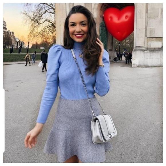 Zara Sweaters - Zara light blue knit sweater with puff sleeves